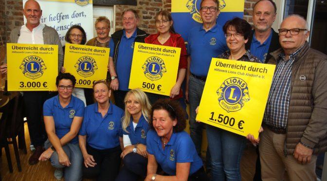 8.000 € Spendengelder an vier Institutionen und Vereine der Alsdorfer LIONS am 24.10.2019